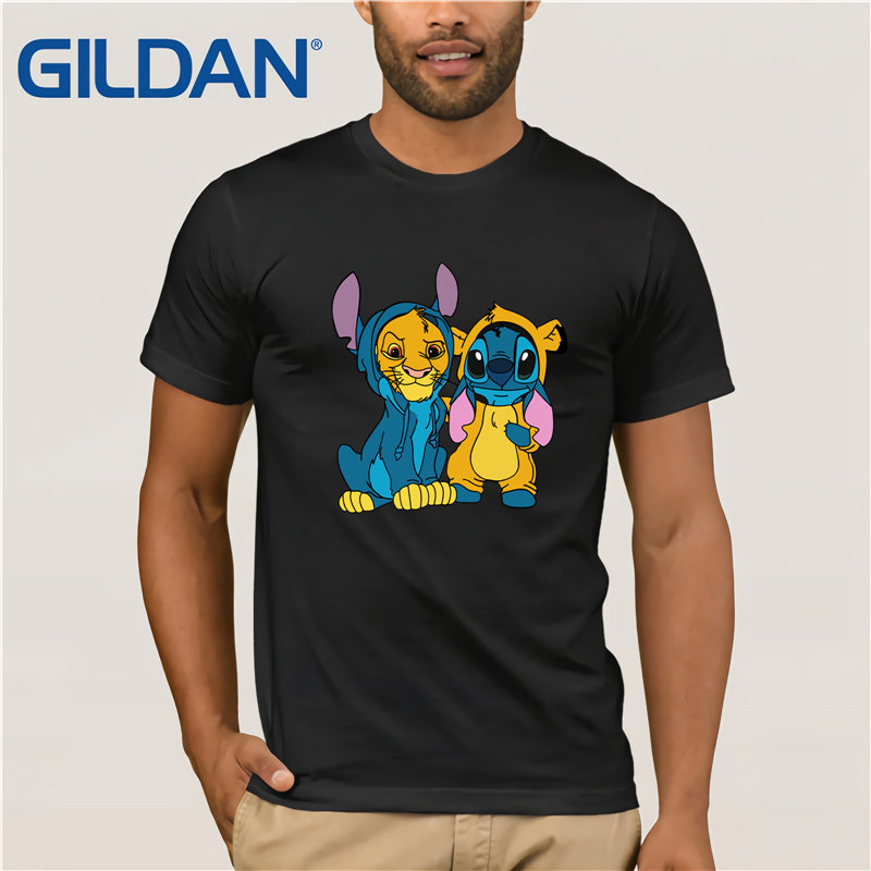 Gildan Brand Simba And Stitch Best Friend T-Shirt Men's Short Sleeve T-Shirt Vintage Crew Neck Funny Tees Cotton Tops T Shirt
