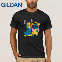Gildan Brand Simba And Stitch Best Friend T-Shirt Mens Short Sleeve Vintage Crew Neck Funny Tees Cotton Tops T Shirt