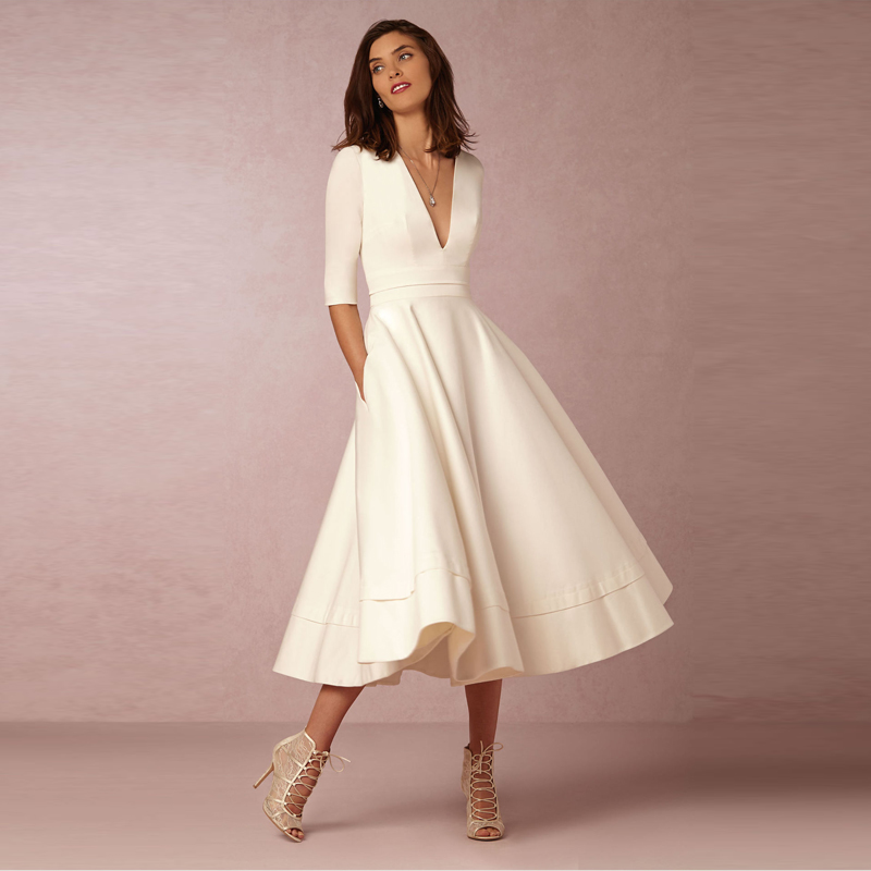 Elegant A-Line V Neck White Maxi Dresses Half Sleeves Simple Sexy Night Club Long Dress Solid Color Female Office Casual Dress