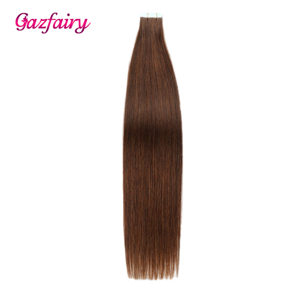Gazfairy Straight PU Skin Weft Hand Tied Tape In Adhesives Remy Human Hair Extensions 18