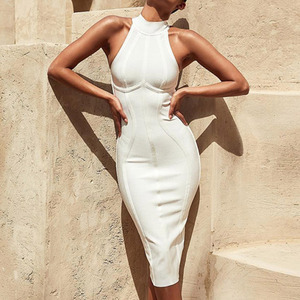 Image 1 - Seamyla Sexy Women White Bandage Dress 2020 New Arrivals Striped Midi Bodycon Dresses Sleeveless Clubwear Party Dress Vestidos