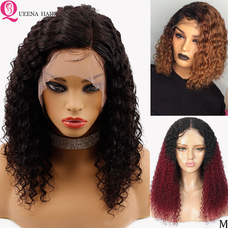 Short Kinky Curly Bob Lace Front Wigs Ombre 1B/99J Peruvian Human Hair Wigs For Black Women 13x6 Short Color Blonde Wig Remy 150