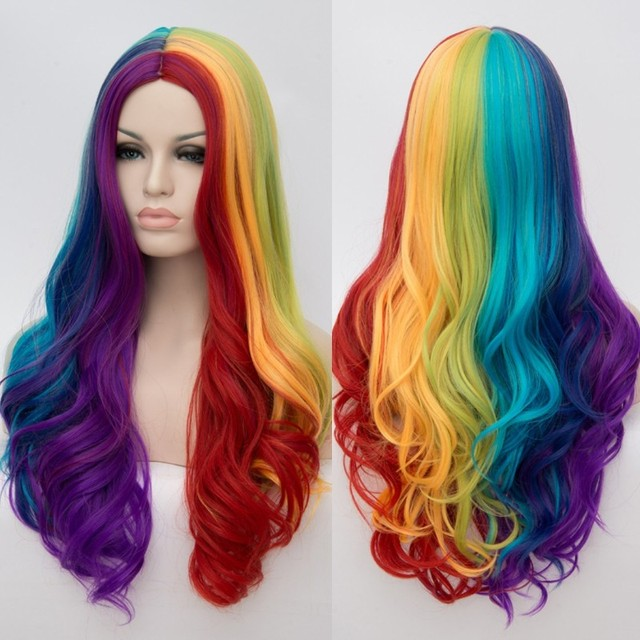 VICWIG Women Cosplay Multicolor Stitching Gradient Wig Long Wig Curved Big Wave Black and White Blue Pink Color Wigs