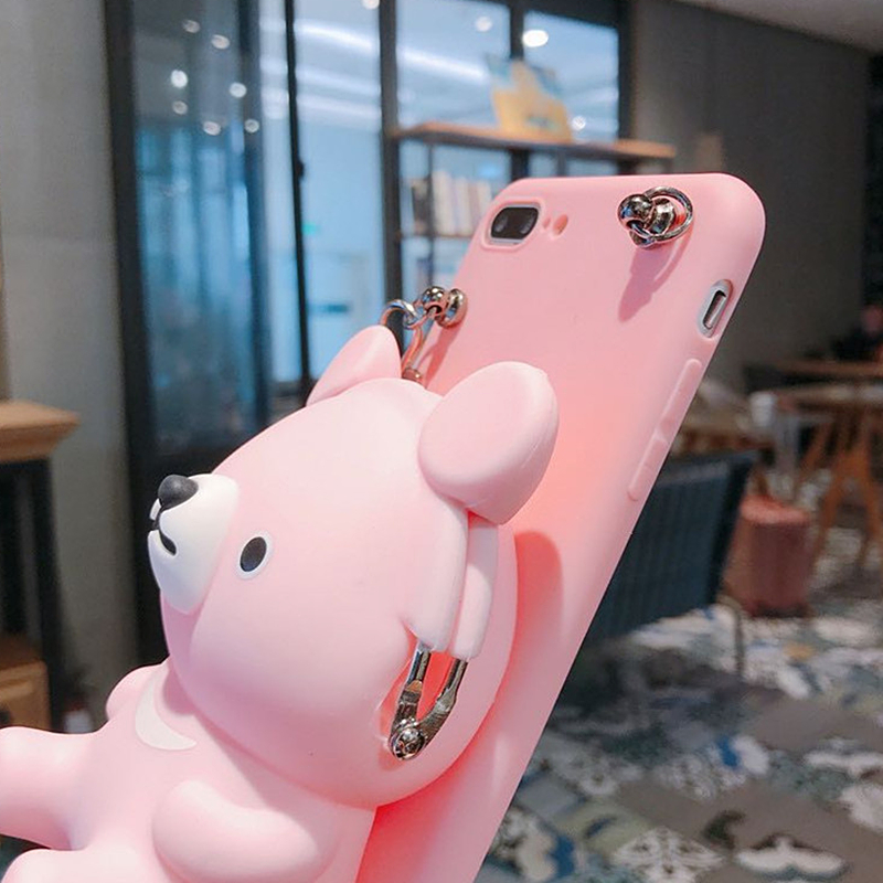 Cute 3D Cartoon Bear Soft Silicone Phone Case Wallet For iphone 8Plus 11Pro 6 7 X XS Max XR Card Wallet Lanyard Mobile Phone bag