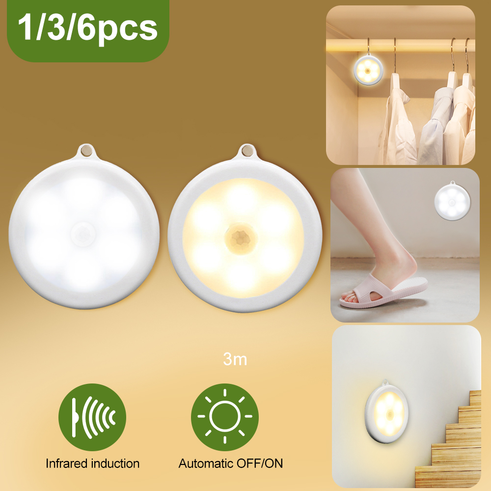 1/3/6pcs Infrared Motion Sensor Cabinet Light 80mm Dia 6 LED Wireless Hallway Stairs Detector Light Protect Eye Auto On/Off Lamp