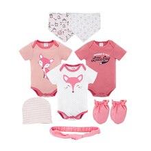 8Pcs Kavkas Newborn Baby Girl Bodysuits Set Cute Cartoon Infant Boy Jumpsuit with Hats Bibs Gloves Toddler Onesie