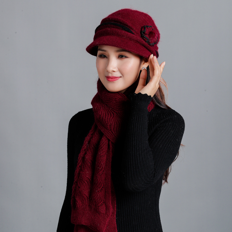 2019 Winter Women Hats Scarf Set Brand Fashion Girl Knitted Hats Scarf Two Pieces Female Thicker Rabbit Fur Hat Casual Scarf Set