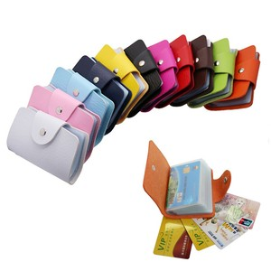 1PC PU Leather Function 24 Bits Card Case Business Card Holder Men Women Hasp Credit Passport Card Bag ID Passport Card Wallet