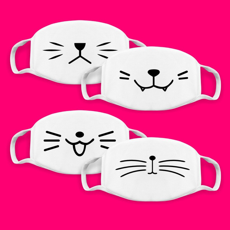 White Cartoon Cute Mask   Dust-proof Facial Expression Quadratic Animation Peripheral Personality