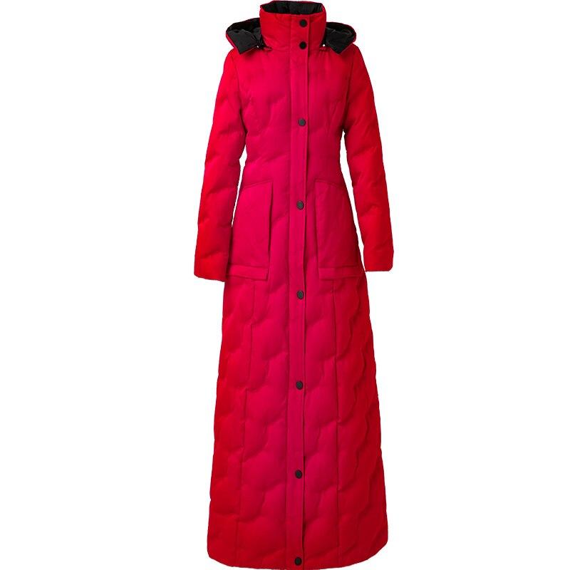 Image 2 - Red down womens 2019 winter new slim waist long warm white duck down fashion temperament 6043Down Coats