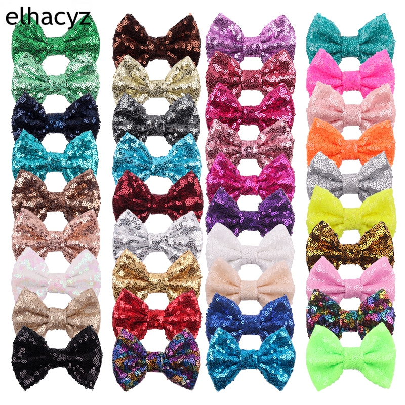 500pcs/lot New 4'' Cute Sequin Hair Bow For Hair Clip Girls DIY Hair Accessories Glitter Bow For Children Accessories NO Clips
