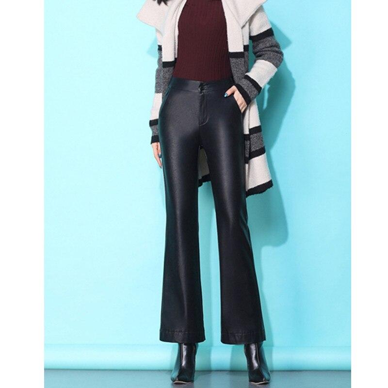 JUJULAND Women Pu Leather Pants Black Sexy Boot Cut Bodycon Trousers High Waist Long 1086