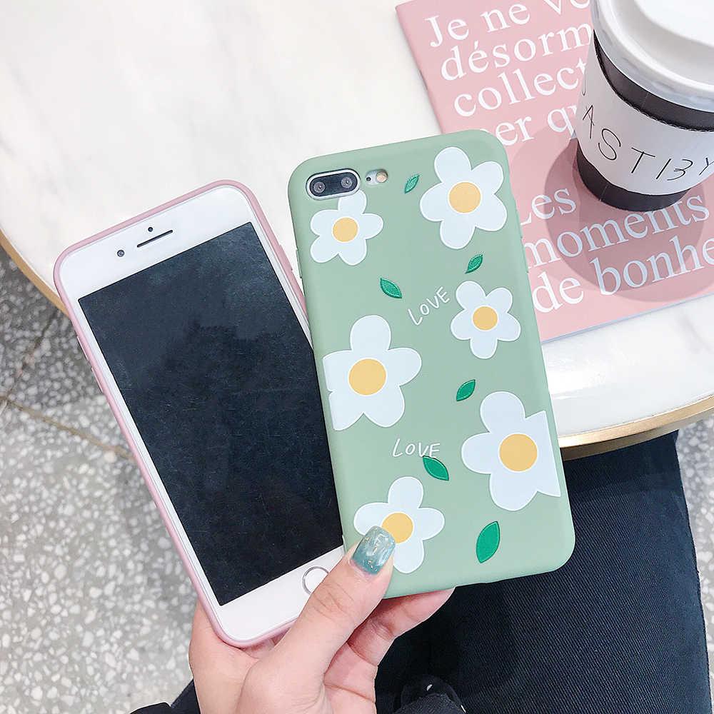 のための iphone 6 6S 7 8 ケースキャンディーカラー小さな花マット TPU ソフトシェルのための iphone 6 6S 7 8 プラス × XR XS XSMAX 電話ケース