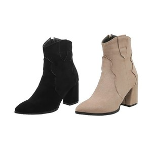 Image 5 - Botas femininas de salto alto tornozelo simples inverno versátil cor sólida botas zip rebanho apontou toe senhora sapatos Size34 48 preto bege