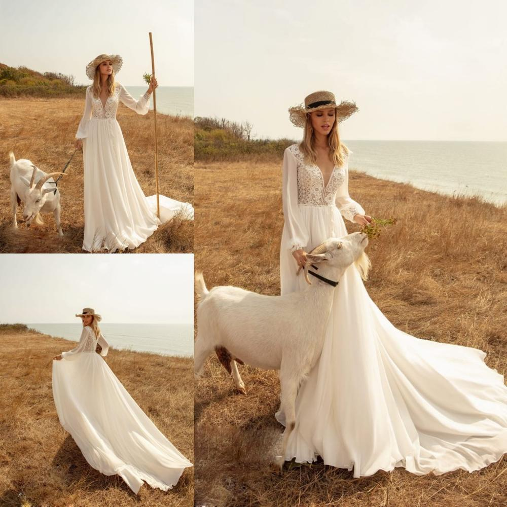 2020 Chiffon Boho Wedding Dresses Long Sleeves Lace V Newck Sweep Train Beach Wedding Gowns Modest Vestido De Noiva