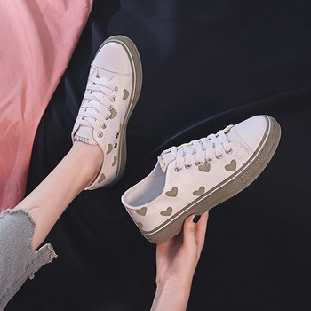 High Quality Fashionable Women Casual Shoes Girls Running Shoes Lace Up Vulcanized Shoes Heart White Sneakers Zapatos De Mujer