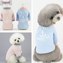 S-XXL Classic 100% Cotton Pet Dog Clothes Hoodie Chihuahua Coat for Small Dogs Cats Supplies Blue Pink
