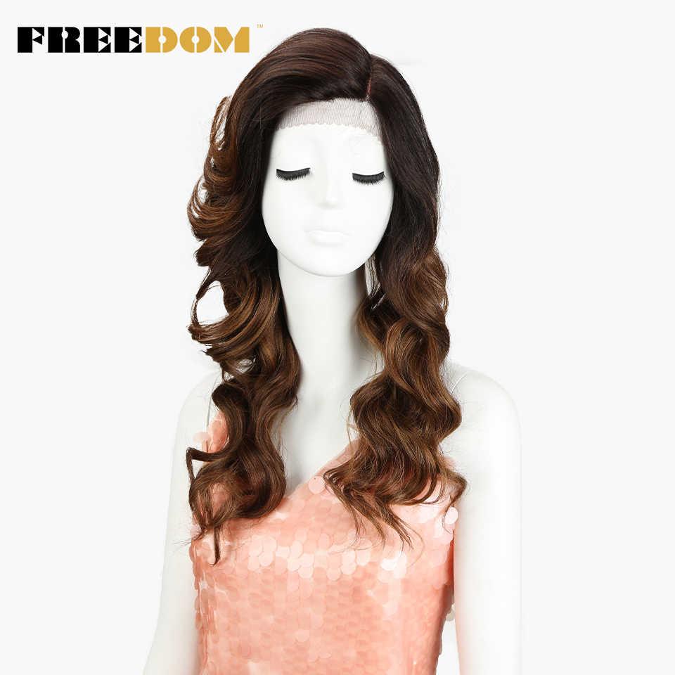 Peluca con malla frontal sintética FREEDOM de 22 pulgadas, pelucas onduladas y sueltas resistentes al calor para mujeres negras, parte lateral marrón y azul oscuro