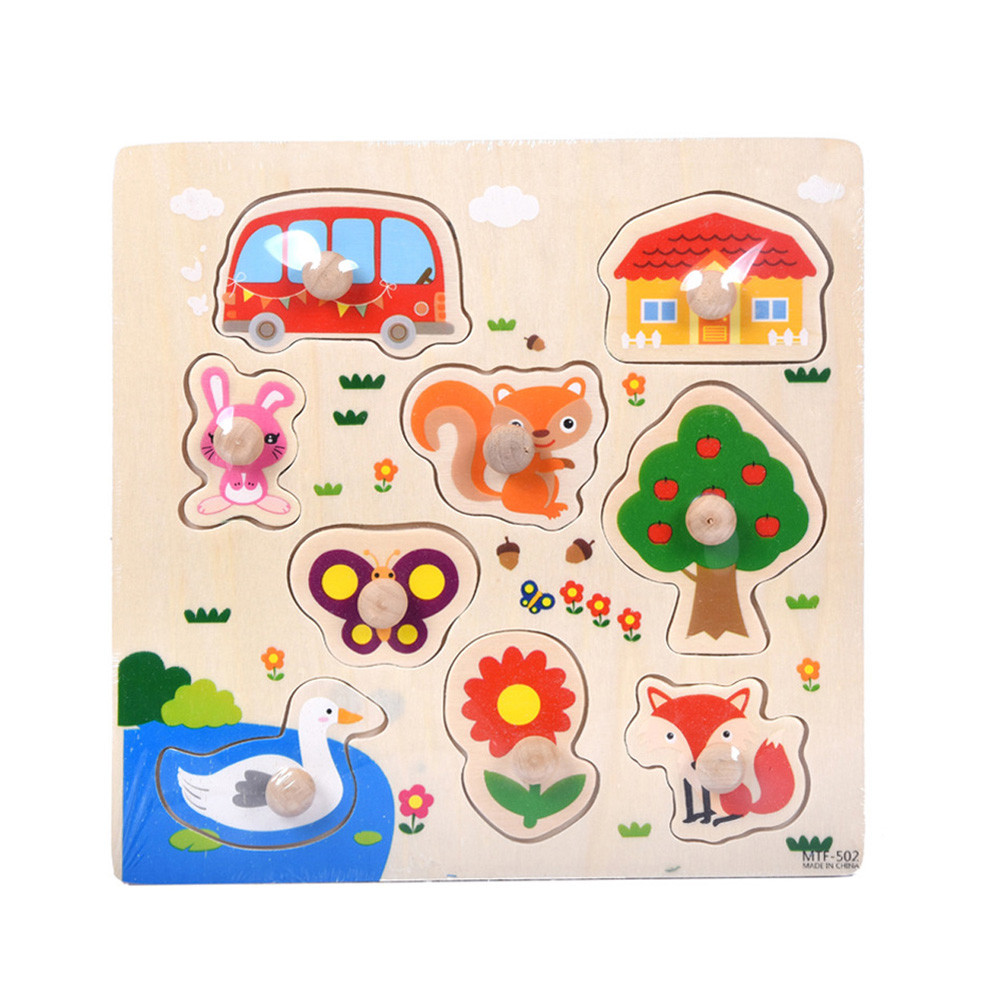 Children's Wooden Puzzle Toy 9 Piece Wooden Animal Puzzle Jigsaw Early Learning Baby Kids Educational Toys L0219