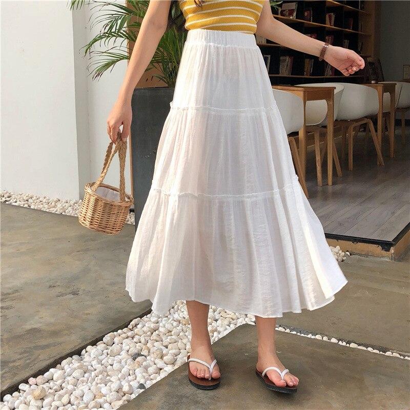 Photo Shoot 2019 WOMEN'S Dress Summer New Style Pleated Skirt High-waisted Mid-length A- Line Skirt Big Skirt Skirt