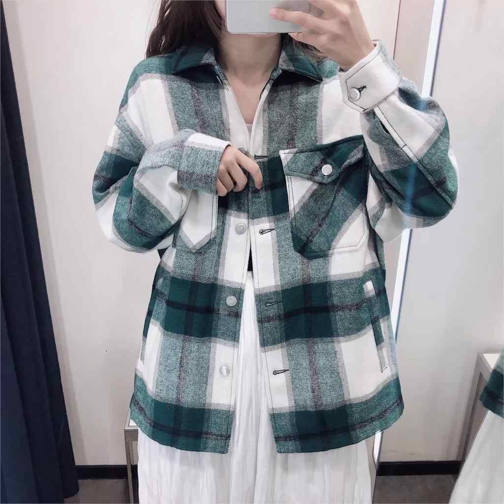 Jesień zima zielony w kratę kurtka i płaszcz modny guzik długi płaszcz z rękawami casual biuro ciepła odzież wierzchnia ponadgabarytowych kurtki damskie