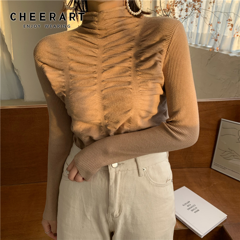 CHEERART Ruched Sweater Women Pullover Jumpers Knit Top Basic Turtleneck Warm Sweater Korean Jumper Clothing
