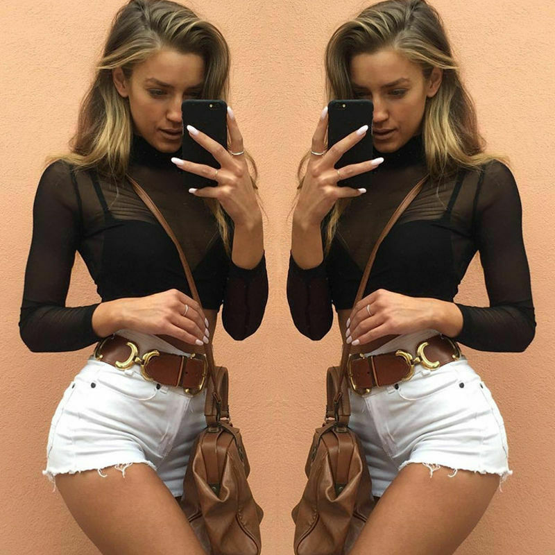 Autumn Hot S-XL Transparent Black Crop Top Women Mock Neck Long Sleeve Mesh Sheer Crop Top Female Office Lady Short T-Shirts