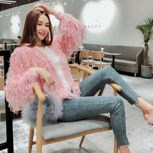 Cardigans Poncho Cardigan Feminino Free Shipping 2019 Autumn And Winter V-neck Tassel Sweater Female Korean Loose Knit