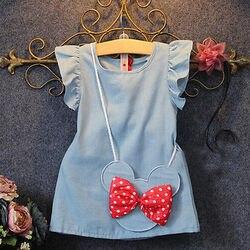 2019 Do Bebê Crianças Demin Vestidos Casuais Crianças Menina Vestido de Minnie Mouse Sem Mangas Sólida Saco Ruffles1-5Y