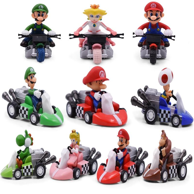 10Styles/Set Super Mario Bros Kart Pull Back Car Mario Luigi Yoshi Toad Mushroom Princess Peach Donkey Kong Figure Toys