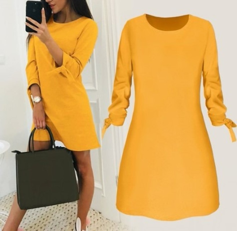 Women Fashion O-neck Solid Bow Elegant Straight Dress Spring Loose Mini Dresses 3/4 Sleeve Bow comfortable Plus Size