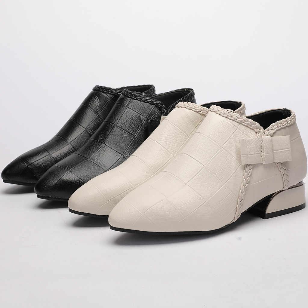 2019 kadın yarım çizmeler sivri burun sonbahar bayanlar moda kalın alçak topuk kadın klasik siyah rahat ayakkabılar Botines Mujer T3