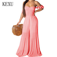 KEXU Elegant Strapless Striped Chiffon Jumpsuits for Women Off Shoulder Backless Playsuit Wide Leg Pants Ruffles Party Overalls