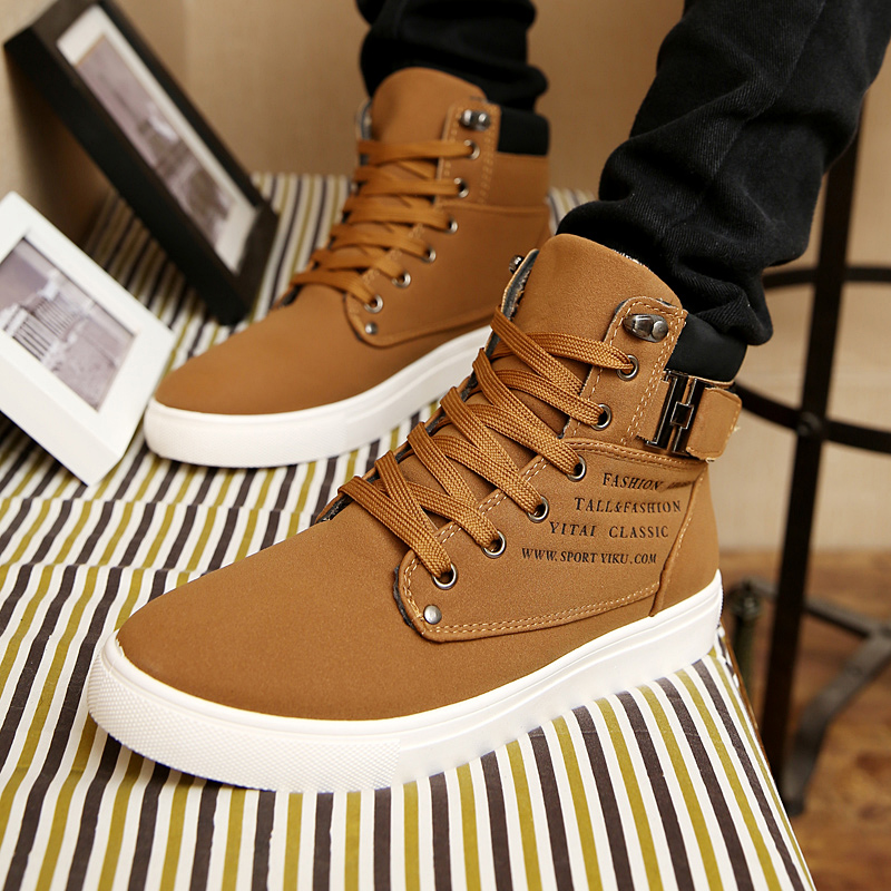 Men's Sneakers 2019 Autumn Winter Warm Matte Leather High Top Men's Shoes Large Size Size 47 Retro Casual Men's Boots Male