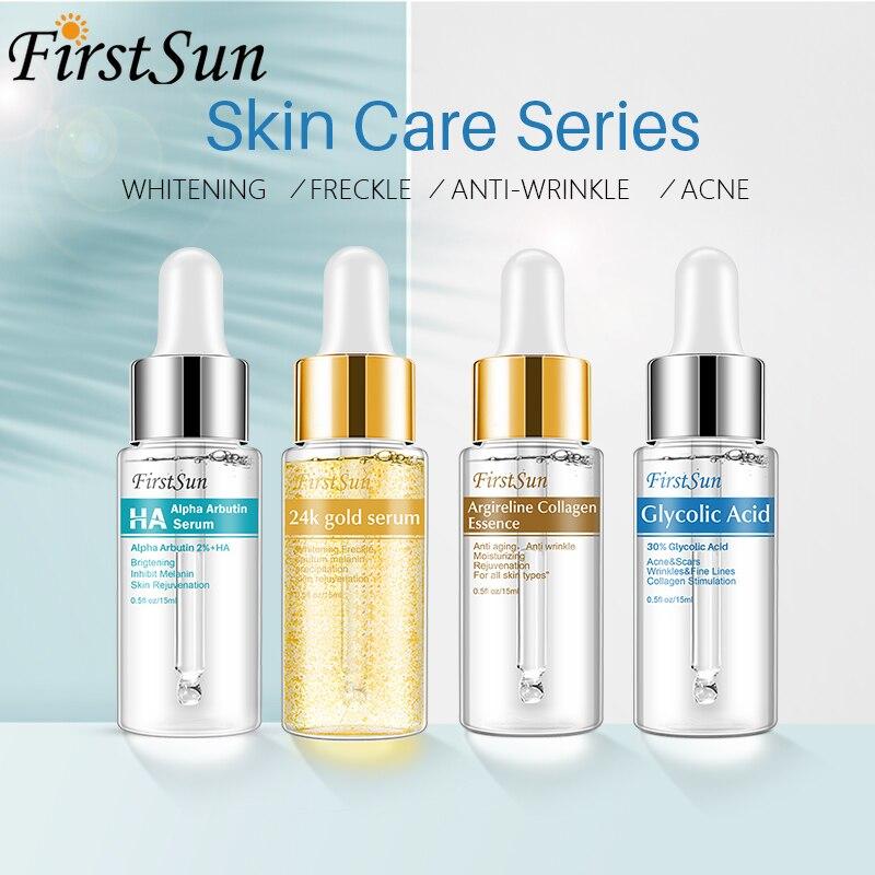 Skincare Set Alpha Arbutin 2% + HA Serum Skin Whitening + Glycolic Acid Serum + 24k Gold Six Peptide Serum Essence Anti Aging