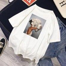 Женские футболки, Сексуальная футболка с принтом цветов и перьев, женская летняя рубашка с коротким рукавом, топы большого размера в стиле Х...