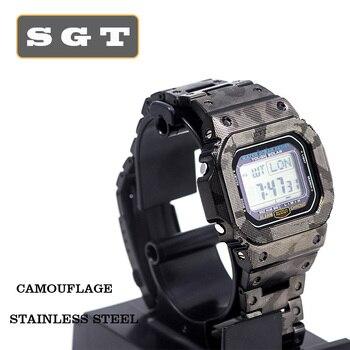Ремешок для часов Камуфляжный GW-M5610 DW5600 GW-5000 DW-5030 браслет из нержавеющей стали и корпус из цельного металла