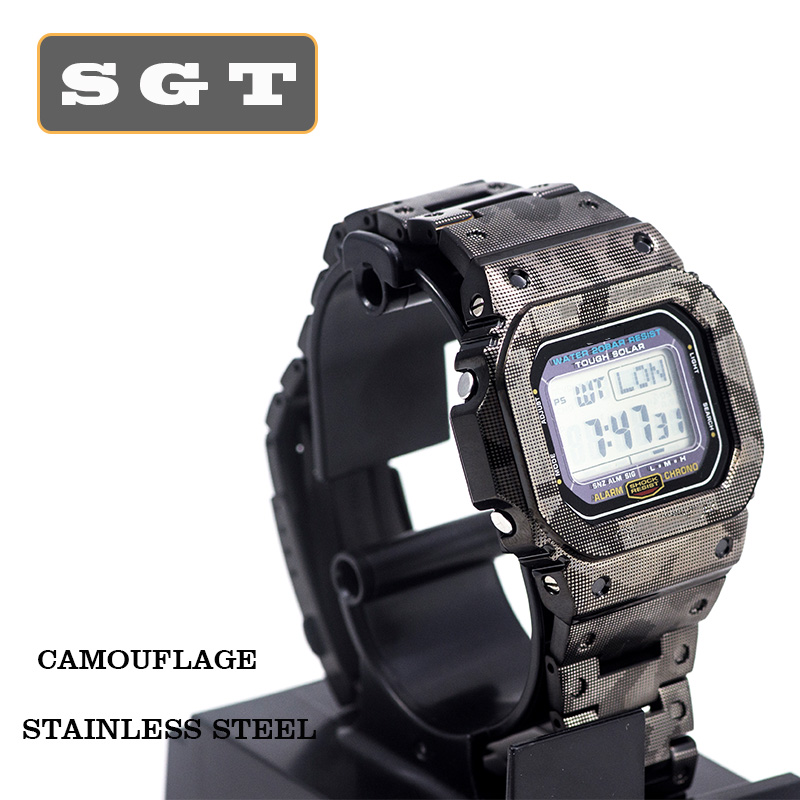Watchband Camouflage GW-M5610 DW5600 GW-5000 DW-5030 G-5600 Stainless Steel Watch Band And Frame Case Solid Metal Bracelet