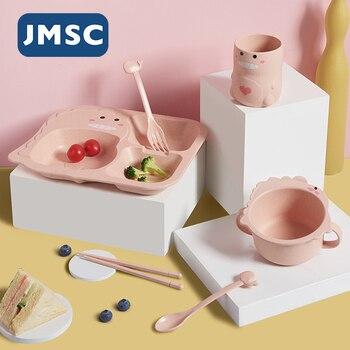 JMSC Baby Dinosaur zestaw stołowy 6 sztuk dzieci obiad bambusowa miseczka treningowa kubek łyżka płyta widelec odporne na upadek naczynia do karmienia gadżet