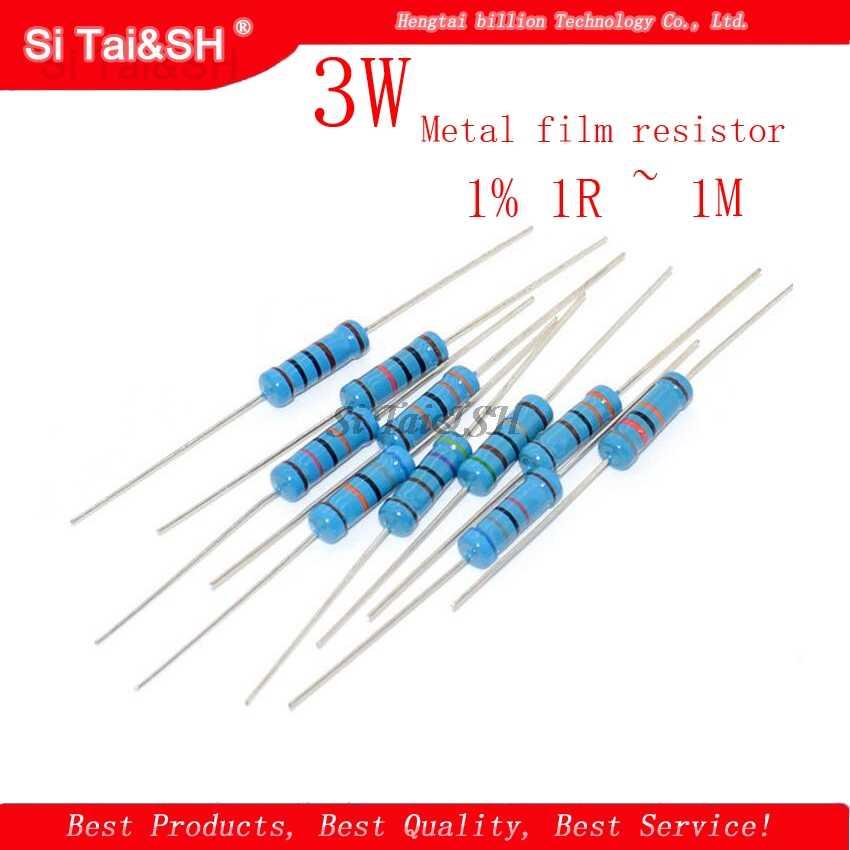 10Pcs 3W Metal Film Weerstand 1% 1R ~ 1M 1R 4.7R 10R 22R 33R 47R 1K 4.7K 10K 100K 1 4.7 10 22 33 47 4K7 Ohm