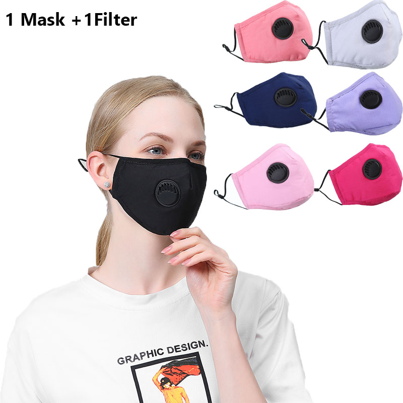 1Set Unisex Washable Fabric Mouth Mask Reusable Dustproof Face Mask Breathable With PM2.5 Fliter Pad Women Mouth Fabric Mask