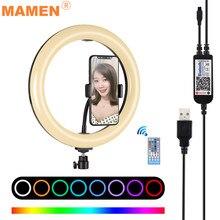 Mamen 10 polegada anel luz 26cm rgb led pode ser escurecido selfie estúdio de vídeo luz preenchimento lâmpada maquiagem para youtube vlog foto câmera dslr