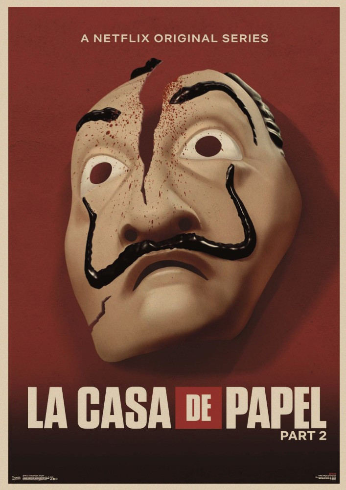 Image 4 - La Casa De Papel Money Heist Posters Retro kraft paper art Wall home Decoration Movie poster-in Wall Stickers from Home & Garden
