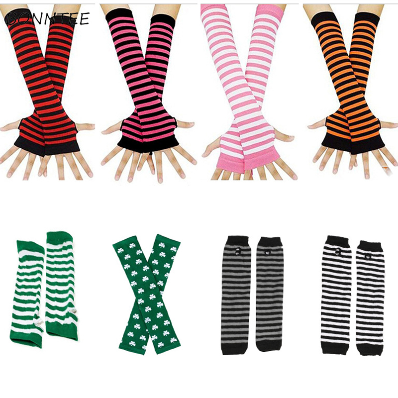 Arm Warmers Women Knitted All-match High Elasticity Leisure Korean Style Classic Striped Warm Womens Sleeves Arms Simple Funny