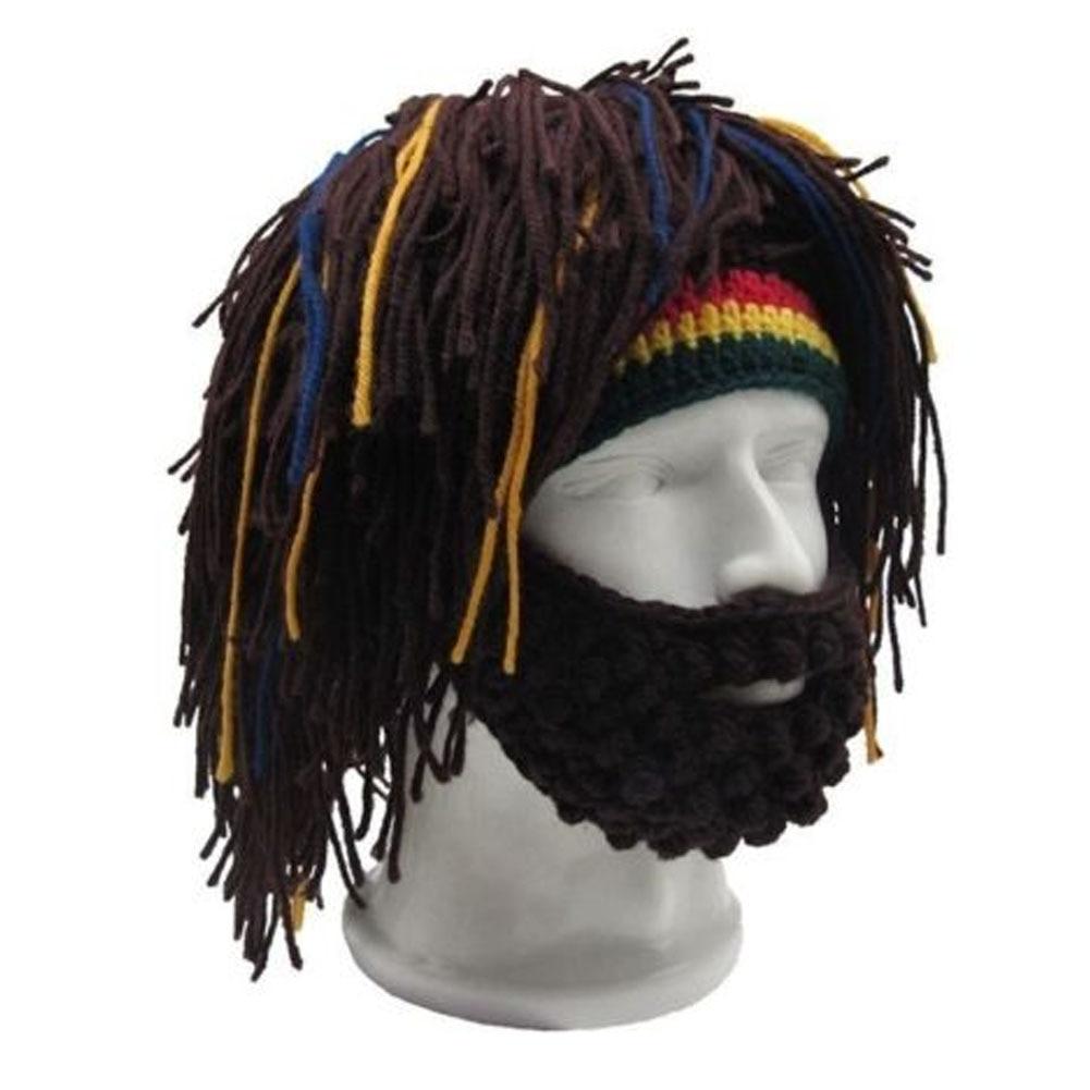Meihuida Winter Men Casual Soft Knitted Wig Beard Hat Hobo Rasta Warm Cap Mask HIP Hop Men Cool Wear