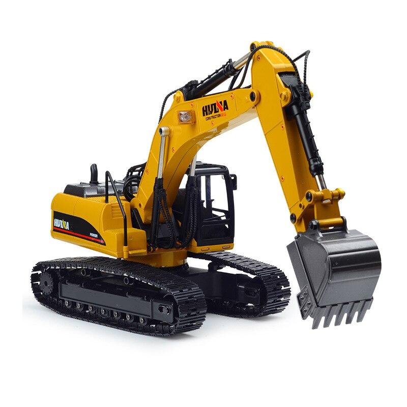 HuiNa 2.4G oyuncak 15 kanal 1/14 RC ekskavatör şarj RC araba pil ile RC alaşım ekskavatör RTR çocuklar için inşaat araçları