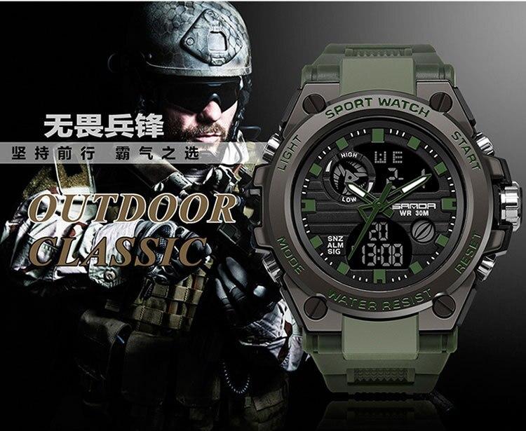 superior luxo militar relógio de quartzo à