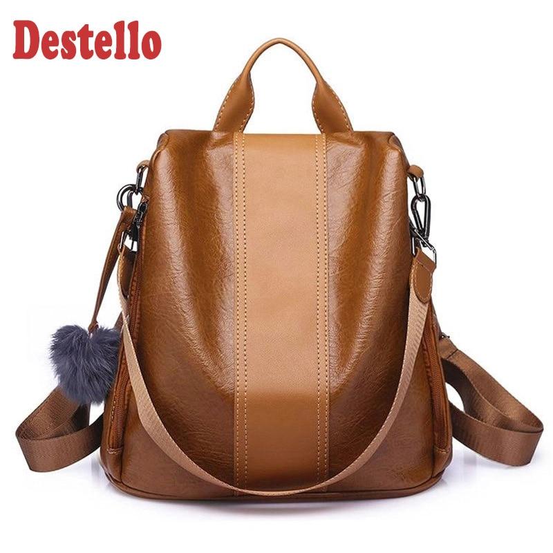 2020 New Fashion Women Backpack Vintage Leather Backpacks For Teenager Girls Preppy School Bagpack Female Travel Bags Mochila