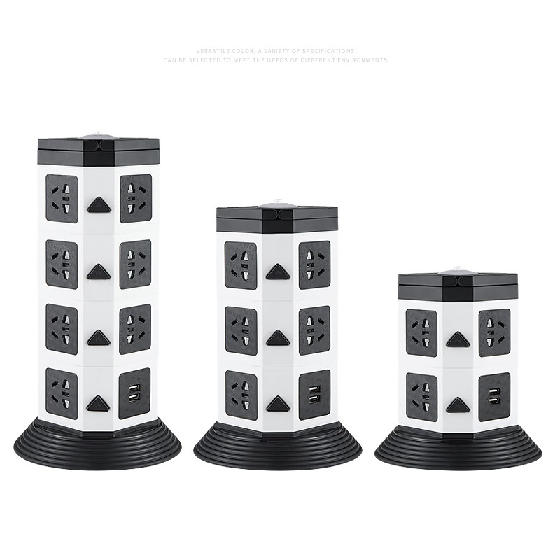 Tower Power Strip Vertical Multi Socket 7/11/15 Outlet With Dual USB China 5 Holes Outlets Extention Cord LED Illumination