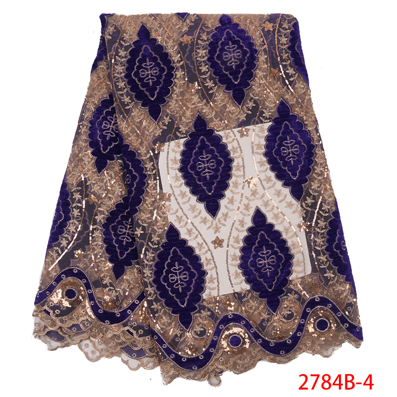 African Lace Fabric High Quality French Tulle Net Laces Nigerian Embroidered Fabric Lace With Sequins For Women KS2784B-4